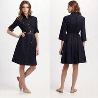 Tory Burch Blue Cotton Blend Blythe Stretch Poplin Shirt Dress Size 8