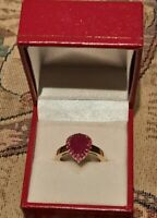 9ct Yellow Gold hallmarked Large 3.00 CT Burmese Ruby Ring Size P 4.3 g