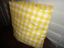 VINTAGE JCP PENNEY YELLOW WHITE GINGHAM CHECK FULL FITTED SHEET PERCALE 7""