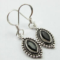 925 Solid Silver Natural Black Onyx 1.6 tcw Dangle Earrings Ladies Gems Jewelry
