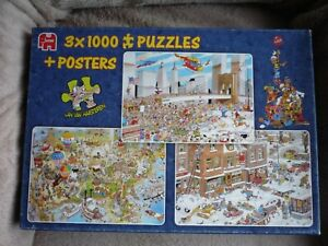 Jan Van Haasteren - 3 x1000 Piece Jigsaw Puzzles, - Combination Box (Rare In UK)