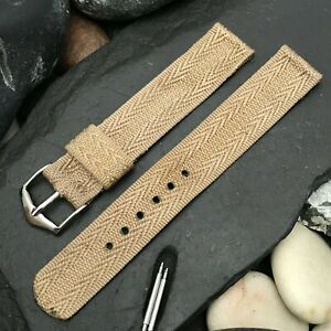 """rare 5/8"""" Tropical Patterned Tan Nylon nos 1950s Vintage Watch Band"""