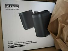 2 X Flexson Wall Mount for Sonos One, One SL and Play:1 - Black Pairs