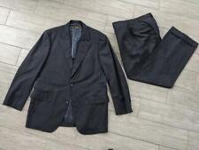 vintage BROOKS BROTHERS wool suit 44L 38x32 black chalk-stripe striped USA