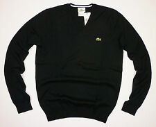 LACOSTE MENS ORIGINAL SMALL CROC FINE V-NECK COTTON JUMPER SIZE [3] UK SMALL