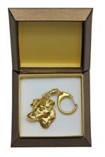 Jack Russel Terrier - gold plated keyring with dog in box,high quality ArtDog IE