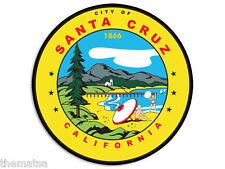 "SANTA CRUZ CALIFORNIA CITY SEAL 4"" HELMET CAR BUMPER STICKER DECAL MADE IN USA"