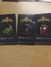 Marvel Contest Of Champions Button Set Ms Marvel Hulk Spider-Man SDCC 2016 Swag