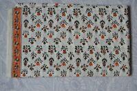 Indian Hand Block Cotton Fabric Natural.Print Handmade Sanganeri Floral 1 Yard