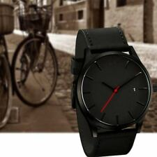 Men Wristwatch Stainless Steel Case Leather Quartz Analog Watches Vintage Charm