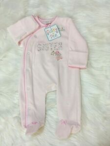 Spanish Romany Style Baby girl Little sister  pink velour sleepsuit 0 -9 month