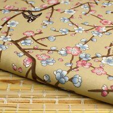 Japanese Sakura Cherry Blossom tan cotton fabric craft fat quarter FQ #F0060