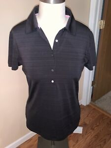Puma Dry Cell Sport Lifestyle Women's Gray Black Polo Size M Short Sleeves