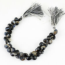 172.80 CTS / 8 INCHES NATURAL UNTREATED DRILLED RICH BLACK ONYX BEADS STRAND