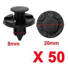 50pcs/set 8mm Hole Plastic Rivets Fastener Push Clips Black for Car AutoM&C