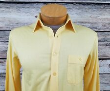 Arrow Sportswear Tournament Yellow Button Front Knit Shirt Size M Retro Style