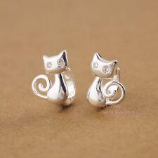 925 Sterling Silver Lovely Cat Kitty Huggie Hoop 10mm Earrings Kid Women A1435