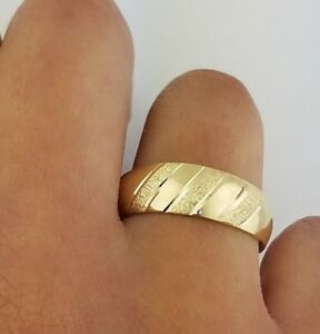 Men's Wedding Band Ring 14k Solid Yellow Gold 6mm Tapered