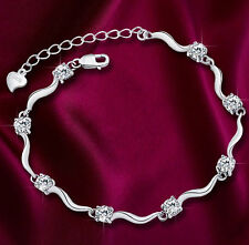 *UK* ladies lovely Silver crystal bracelet Charm Crystal Bamboo Chain GIFT 1015