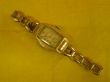 1930's BULOVA 10AN 15 Jewel Deco Skyscraper Two Tone Gold Watch w/ Original Band