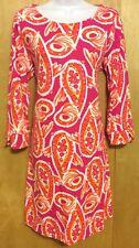 CROWN & IVY SZ M DRESS Paisley PRINT Orange PINK White COTTON Knit ZIP Scoop 3/4