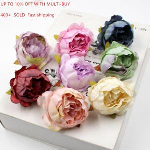 10Pcs Silk Peony Rose Flower Heads Bridal Wedding Bouquet Home Office Decors UK