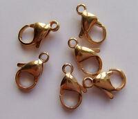 3pz moschettoni  in acciaio inox  15x9mm colore oro bijoux