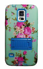 Vintage Floral Shock proof 2 in 1 Stand Case For Samsung Galaxy S5 Matte Spring
