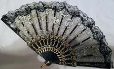 Chinese fan white roses gold glitter, hand fan, G1