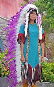 Feather Headband Purple Warbonnet Indian Headdress Chief Large Costume