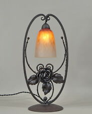 SCHNEIDER : FRENCH ART DECO LAMP ............. wrought iron 1925 1930 muller era