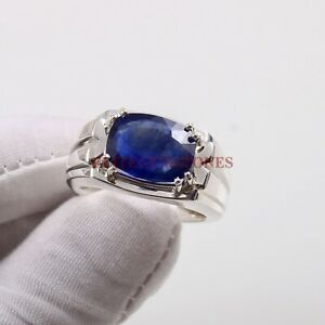 Natural Blue Sapphire Gemstone with 925 Sterling Silver Ring for Men's #5327