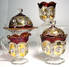 EAPG Ruby Stained _ Peerless 4 Piece Table Set - Tarentum Glass Co.