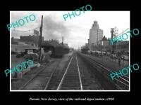 OLD LARGE HISTORIC PHOTO OF PASSAIC NEW JERSEY RAILROAD DEPOT STATION c1940