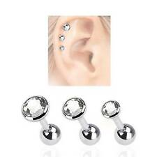 LOT 3 Pack Ear Cartilage Helix Tragus CLEAR CZ Stud Ring Surgical Steel 16G