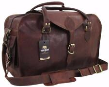 "Yuge Bear 21"" C50  Vtg Mens Genuine Leather Travel Suitcase Duffel Carry On Bag"