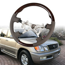 Wood Grain Brown Leather Grip Steering Wheel For Lexus LX470 Toyota Land Cruiser