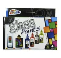 Pack Of 4 GRAFIX GLASS PAINTS STAINED ART COLOURS KIDS CRAFTS CREATIVE PAINTS