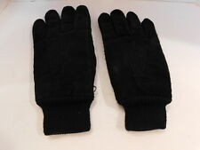 DESIGNER MENS BLACK SUEDE WINTER GLOVES ACRYKIC KNITTED LINING  SIZE 9 L / XL