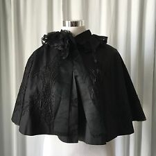 Antique Victorian Beaded distressed Silk Cape Mantle Black