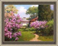 "Hand-painted Original Oil painting art garden Landscape flower on Canvas 30""x40"""