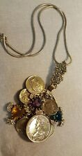Stunning Large ART Signed Coin and Charms Necklace Pendant Bronzetone Emperors