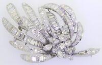 Vintage 1950s heavy jumbo Platinum 16.0CT VS1/F diamond cluster floral brooch