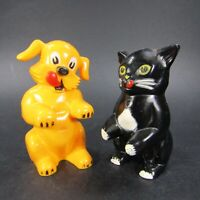 Vintage Ken L Ration Cat Dog Salt Pepper Shakers F & F plastic USA   INV489