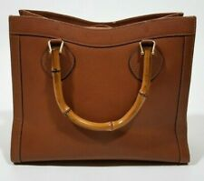 GUCCI Brown Leather Vintage Bamboo Handle Purse