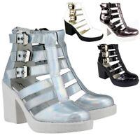 Ladies Summer Sandals Womens Cut Out Buckle Strap Block Heel Platform Shoes Size