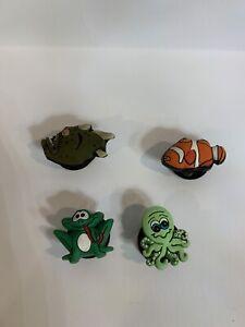 Assorted Animal Crocs Jibbitz-Lot Of 4- Frog, Piranha, Clown Fish, Octopus