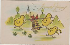 CPA FANTAISIE JOYEUSES PAQUES/HAPPY EASTER/POUSSINS/CLOCHE/FER A CHEVAL/TREFLES