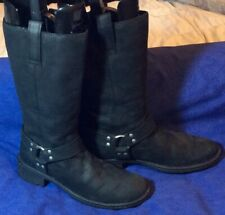 Black Leather BORN Harness Tall Boots Sz 8.5 / 40 Pull-On Motorcycle Biker