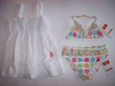 US Polo Assn Swimsuit/Swimwear Girls 3-Piece Sz 12 Months White Polka Dots NWT